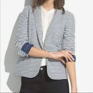 MADEWELL Blue/White Striped Blazer - Size 4